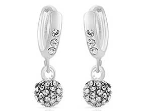 Rhodium Plated Drop Earrings