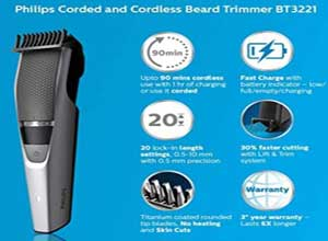 Philips BT3221/15 corded/cordless Titanium Beard Trimmer