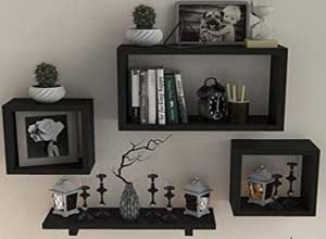 Wall Mounted Bookcase Wooden Display Racks