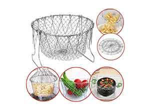 Frizty Foldable Steam Rinse Deep Frying Basket